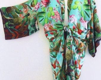 Pure Silk Hummingbirds Roses Olives Blossom Mid Length Kimono Jacket by LaMolli