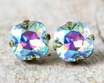 Light Azore Glacier Blue | Swarovski Crystal | Cushion Cut | Swarovski Earrings | Square Earrings | Wedding Jewelry | Gift For Her | Azore