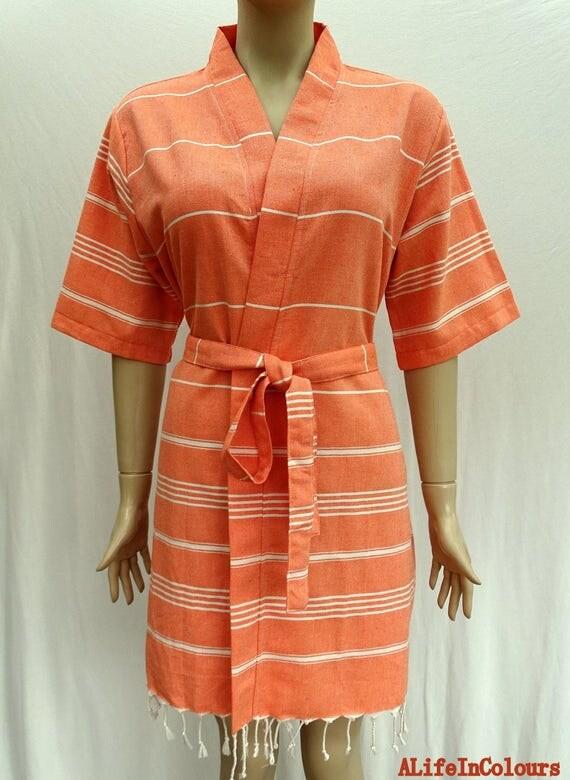 Women\'s orange colour short sleeved soft cotton kimono