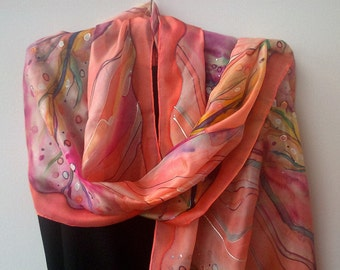 Coral Silk Scarf Hand Painted Blossom Ornament. Coral, Salmon Pink, Tangerine. 18x 71 in Scarf. Elegant Silk Scarf. ETSY Scarf. Foulard Soie