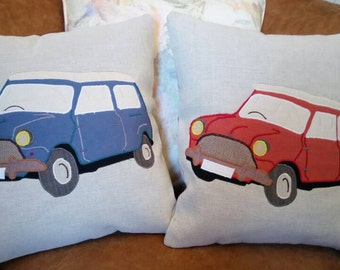"Classic Mini Cooper Cushion Pillow Vehicle 18""x18"" 45x45cm Bye Brytshi"