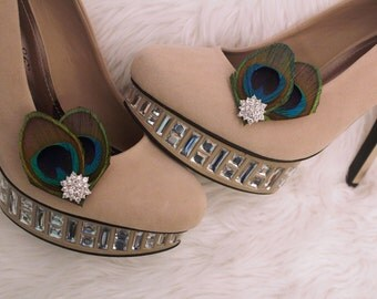 Beautiful Peacock Feathers Shoe Clips