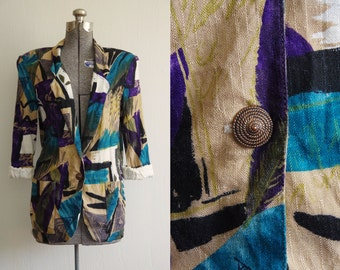 1980s Christopher A. Abstract Print Longline Blazer Jacket Size Medium | Padded Shoulders | Made in USA