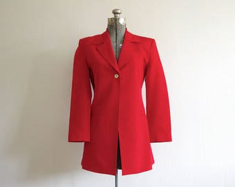 1980s Georgiou Studio Bright Red Gold Single Button Front Long Silk Jacket Blazer Size 2