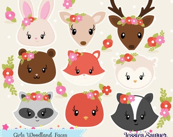 INSTANT DOWNLOAD - Girls Woodland Clipart and Vectors