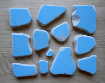 Sea pottery , beach pottery,  12 pieces light blue, jewelry supplies, crafting, pendants,art, mosaic  lotto215