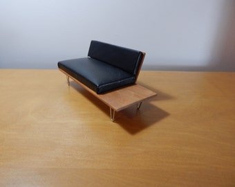 1:12 Scale Mid-Century Modern Leather Sofa with Attached End Table