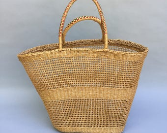 Perfect 60s Vintage Straw Beach Bag Tote