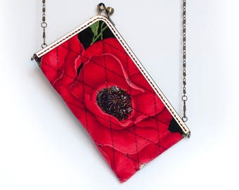 """8"""" kiss lock – Glasses Case or Cell Phone Case, Poppy Red"""