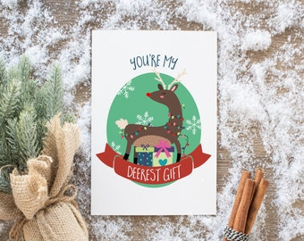 Rudolph Reindeer Holiday Cards, Christmas Cards, Xmas, Woodland, unique and hipster, pop art, Holidays, Xmas, funny cards, personalized