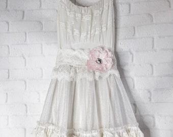 eggshell & ivory crystal organza lace boho wedding dress by mermaid miss Kristin