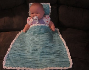 Teal and White Baby Doll Blanket and Pillow Set