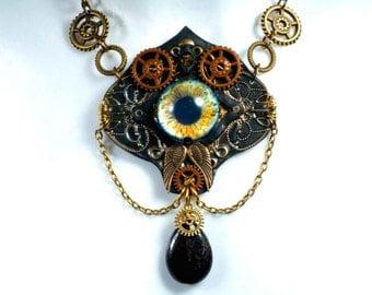 Necklace, steampunk, eye m