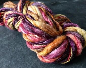 Handspun Yarn, Thick and Thin, Art Yarn, Slub, Superwash Wool,  Bulky, Single Ply, Curried Beets