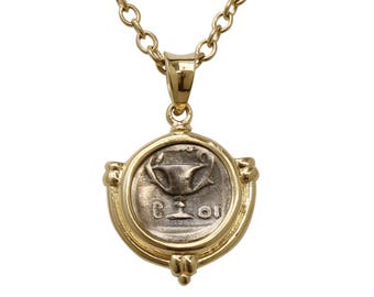 Greek coin necklace, coin pendant necklace, silver coin necklace, ancient coin pendant, 14 karat gold necklace, real gold coin necklace