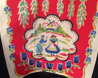 VINTAGE Colorful Red Linen Kitchen Dish Towel Dutch Boy & Girl with Blue Tulips