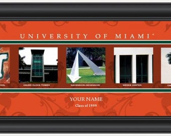 PERSONALIZED & FRAMED NCAA Miami Hurricanes Letter Art Sports Prints