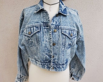 90's Denim Jacket, Acid Wash Denim Jacket, Vintage 90s Clothing, 90s Grunge // Medium
