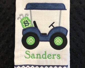 Navy and Lime Green Golf Cart Burp cloth