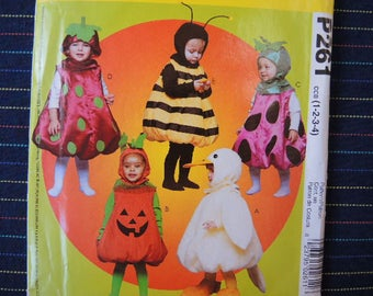 2000s McCalls sewing pattern P261 Toddler Halloween costumes UNCUT sizes 1-2-3-4 Pumpkin duck strawberry bumblebee