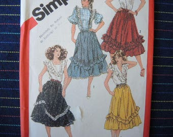 vintage 1980s Simplicity sewing pattern 5819 misses' flounced skirts UNCUT size 10