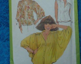 vintage 1970s Simplicity sewing pattern 8348 blouse UNCUT size 10
