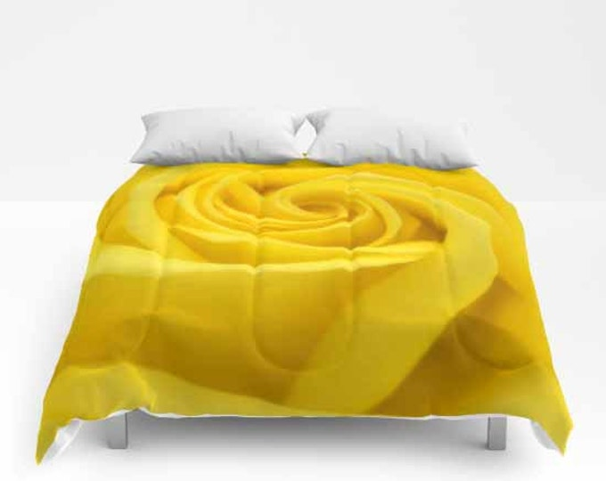 Yellow Rose, Comforter, Bedspread, Bedding, Bedroom Decor, Photography, Floral Bedding, Queen Comforter, Floral Photography
