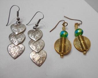 Two Vintage Pairs Pierced Dangle Earrings (8158)