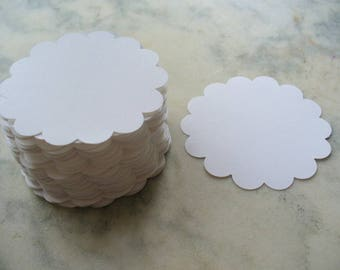 White Scalloped Circle Die Cuts, Paper Craft, Price Tag, Card Making, Scrapbook, Gift Tag, Paper Tags, Wedding Tags,
