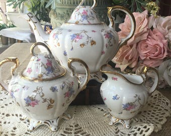 Stunning Royal Stafford Tea Set Violets Pompadour Pattern made in England Bone China Tea Set