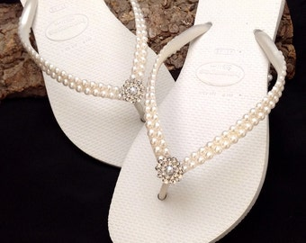 Havaianas Pearls Rock Slim Bridal Pure White Rose w/Swarovski Crystal Rhinestone Flip Flops Bling Silver BridesMaid Beach Wedding shoes