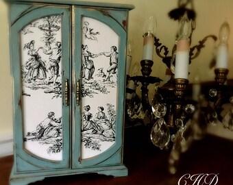 Vintage Jewelry  Box, Painted Jewelry Box, Upcycled Jewelry Box, Decoupaged Jewelry Box, Jewelry  Armoire