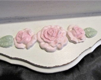 Shabby Chic White Wooden WALL SHELF Decor, Molded Pink Roses, Plate Groove, Distressed, Cottage Chic, Chic Pink Roses, Romantic Home Decor