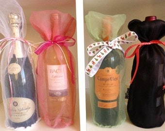 5 organza wine bags, gift favor pouch