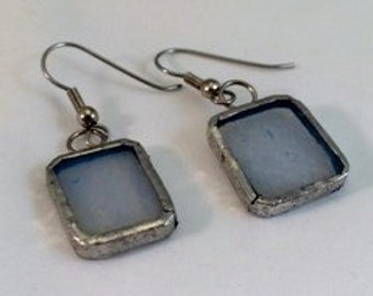 Ice Blue Stained Glass Earrings, Rectangle Stained Glass Earrings, Recycled Stained Glass Jewelry, kimsjoy, Gift for Her,Icy Blue Earrings