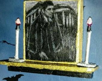 Barnabas Collins.  Gothic dollhouse shelf, portrait of Barnabas Collins over mantel, Dark Shadows dollhouse decor. Gothic decor