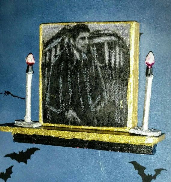 Gothic dollhouse shelf, portrait of Barnabas Collins over mantel, Dark Shadows dollhouse decor. Gothic decor