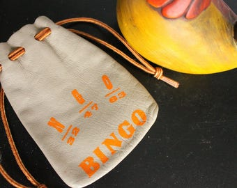 Vintage leather BINGO wallet, Bingo pouch, BINGO Change Purse N- G- O= Bingo! Drawstring change purse