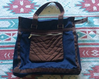 Vintage Brown and Blue Heavy Material Purse