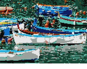 Needlepoint Kit or Canvas: Boats