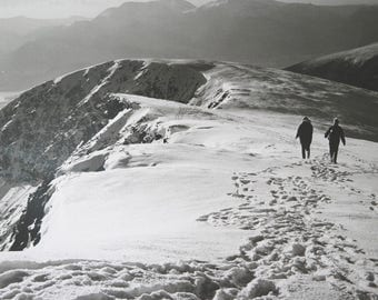 Antique/ vintage 1950s / 60s large hand developed, black and white photo of snowy mountain - possibly the Lake District