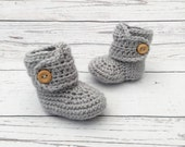 crochet baby booties | gender neutral baby bootees | unisex baby shoes | grey baby button boots | baby shower gift