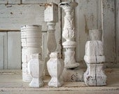 Reclaimed wood architectural candle holders table grouping display French Nordic white chippy painted shabby home decor anita spero design