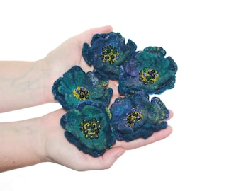 Lot of 5 Felted flower brooches / Viola Flowers  / Felt Jewelry / Felted Flowers / Ready to ship / dark blue and gold