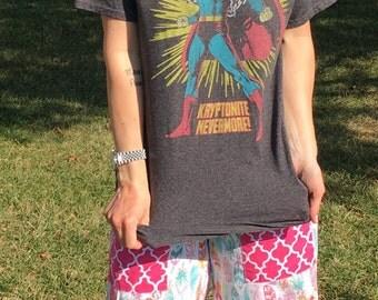 Women's Heathered Grey Superman Off The Shoulder Tee Top Shirt  Medium