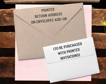 Return Address Envelope Printing Add-On for any rusticelegance18 Invitations or Thank You Cards.Back Flap Return Address.Printed Envelope.