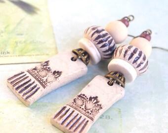 Natural Beige earrings, Art Deco Jewelry, Corn Field, Art Nouveau, Vintage, Victorian Jewelry, Repousse floral