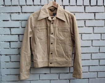 Vintage LEE COTTON Denim Jacket Made in U.S.A. Brown Tan Long Sleeve Collared Jean Outdoor Work Wear