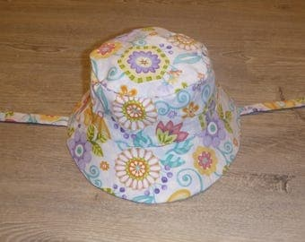 Size 3t (ages 2-4 approximately) Reversible Bucket Hat with Chin Strap