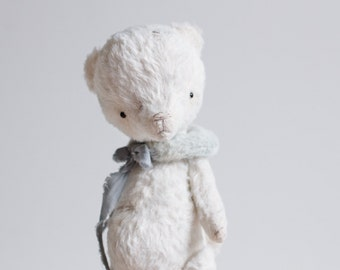 Gift For Her White Teddy Bear Blue Collar Stuffed Animal Handmade Mohair Plush Toy 7 Inches Gift For Her FREE Shipping
